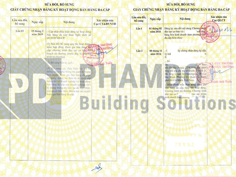 Mẫu giấy sửa đổi bổ, sung giấy giấy phép bán hàng đa cấp