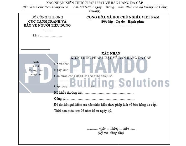 Mẫu giấy xác nhận kiến thức về bán hàng đa cấp
